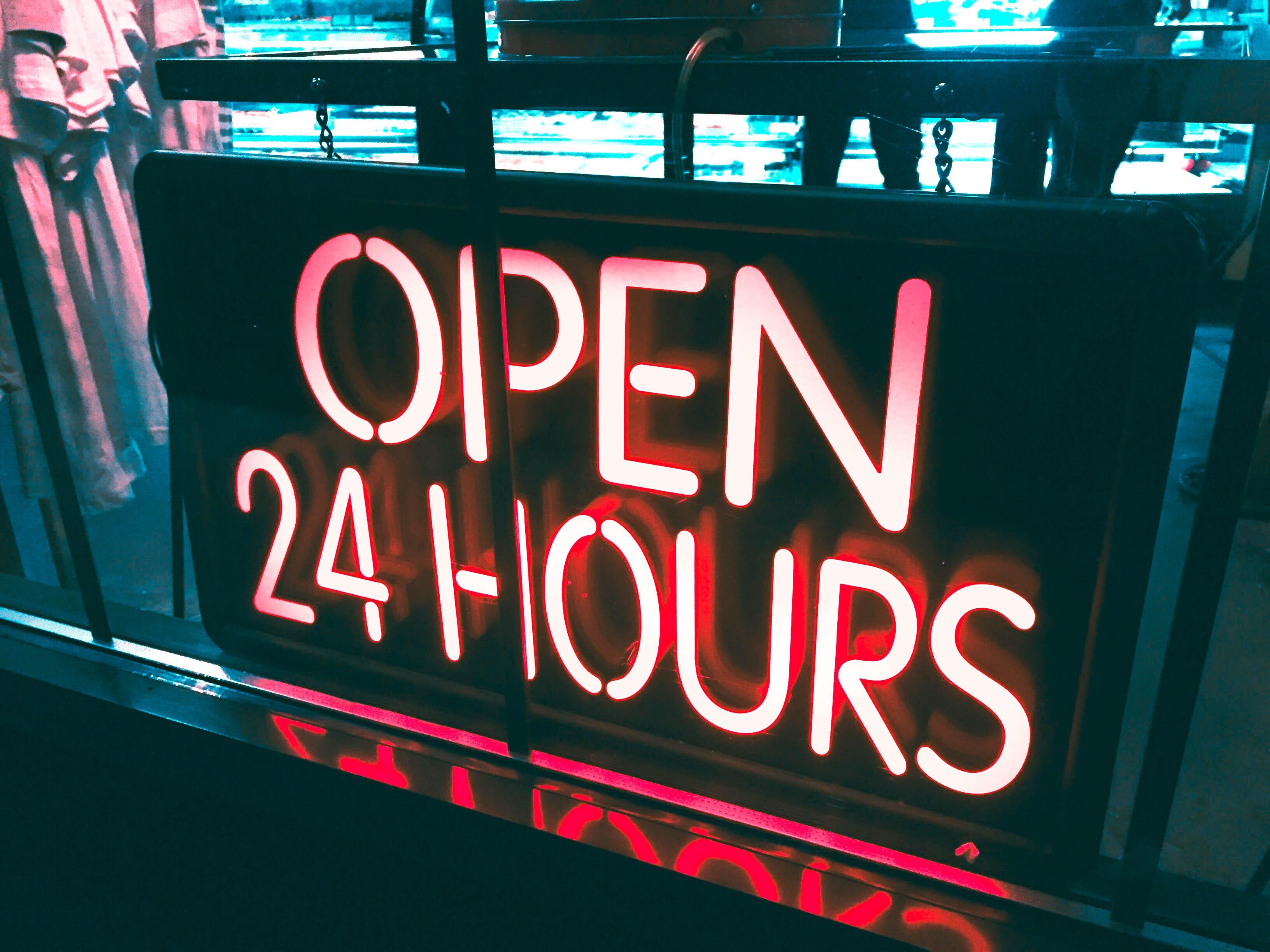 neon, open, 24 hours