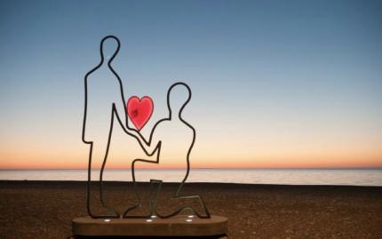 Батуми, Грузия, набережная, памятник, сердце, закат, море